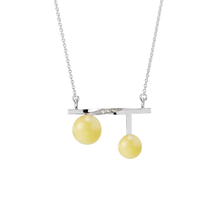 Balance Twist necklace by Bukkehave in milky amber