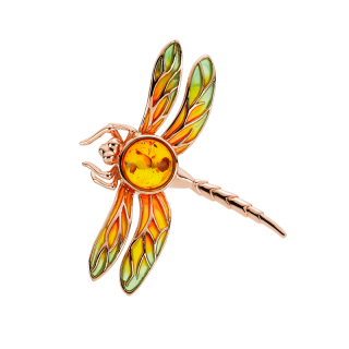 Bygone Garden Brooch in cognac amber and green and orange enamel