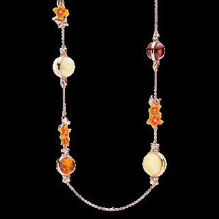 Bygone Garden necklace in mixed amber and orange enamel