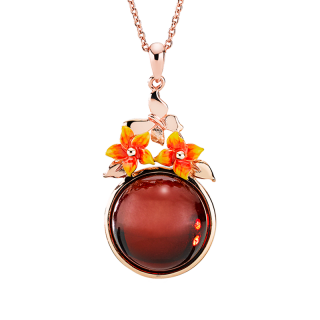 Bygone Garden pendant in cherry amber and orange enamel