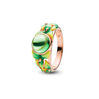 Bygone Garden ring in Green Aurora Amber and green enamel
