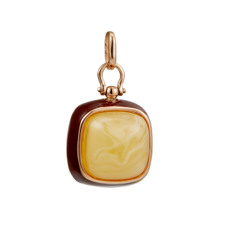 Enlightened Enamel pendant in milky amber and brown enamel