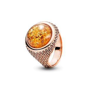 Enlightened Enamel ring in cognac amber