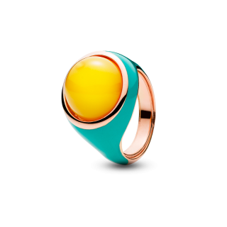 Enlightened Enamel ring in milky amber and tiffany blue enamel