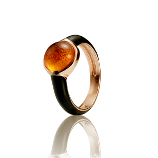 Enlightened Enamel ring in cognac amber and black enamel