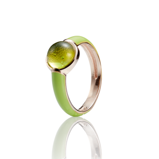 Enlightened Enamel ring in Aurora Green amber and lime enamel