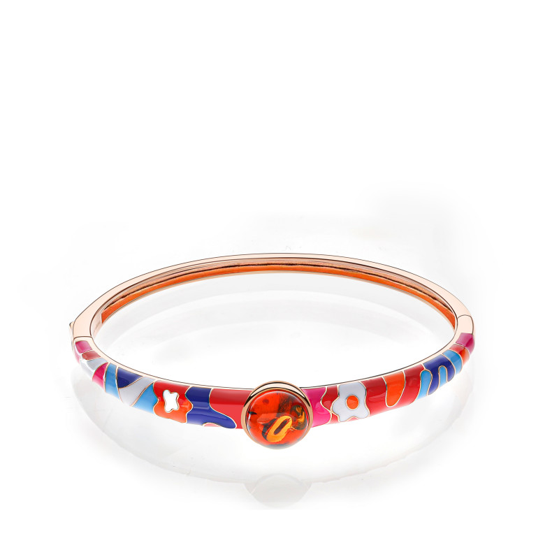 Lucky 8 anniversary bangle in cognac amber and enamel