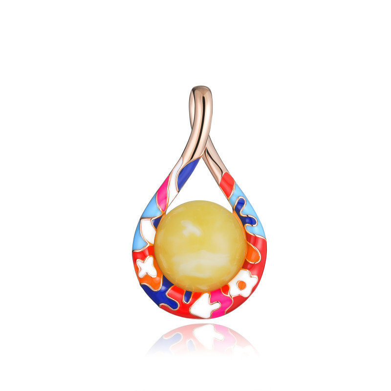 Lucky 8 anniversary pendant in milky amber and enamel