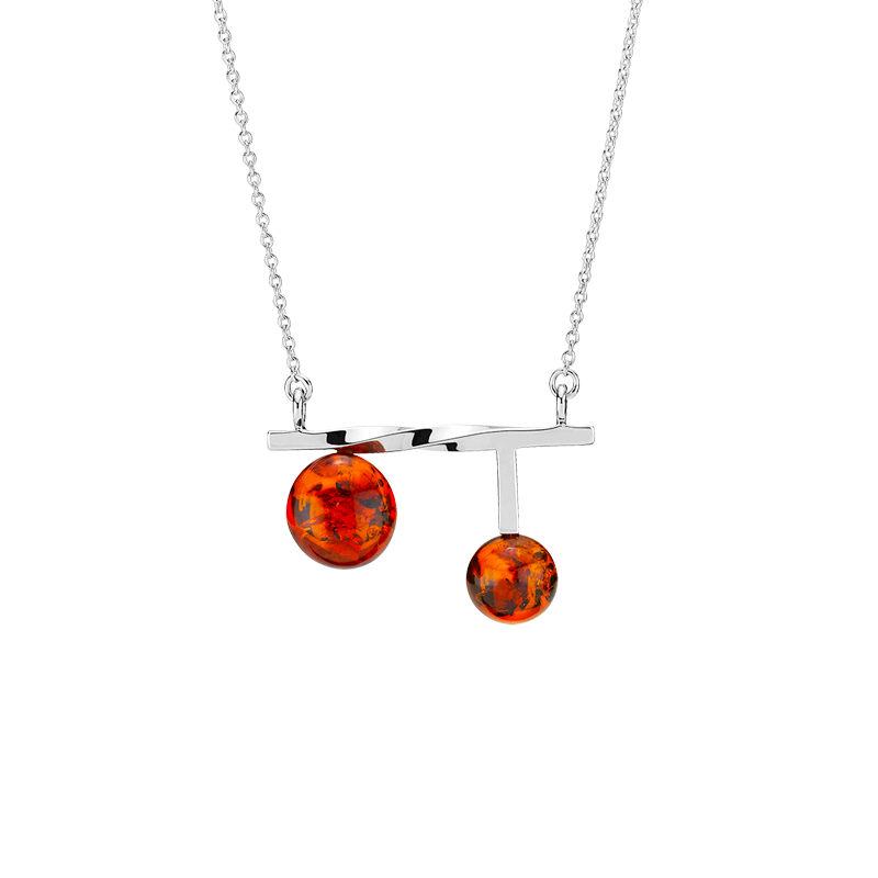 Balance Twist necklace by Bukkehave in cognac amber