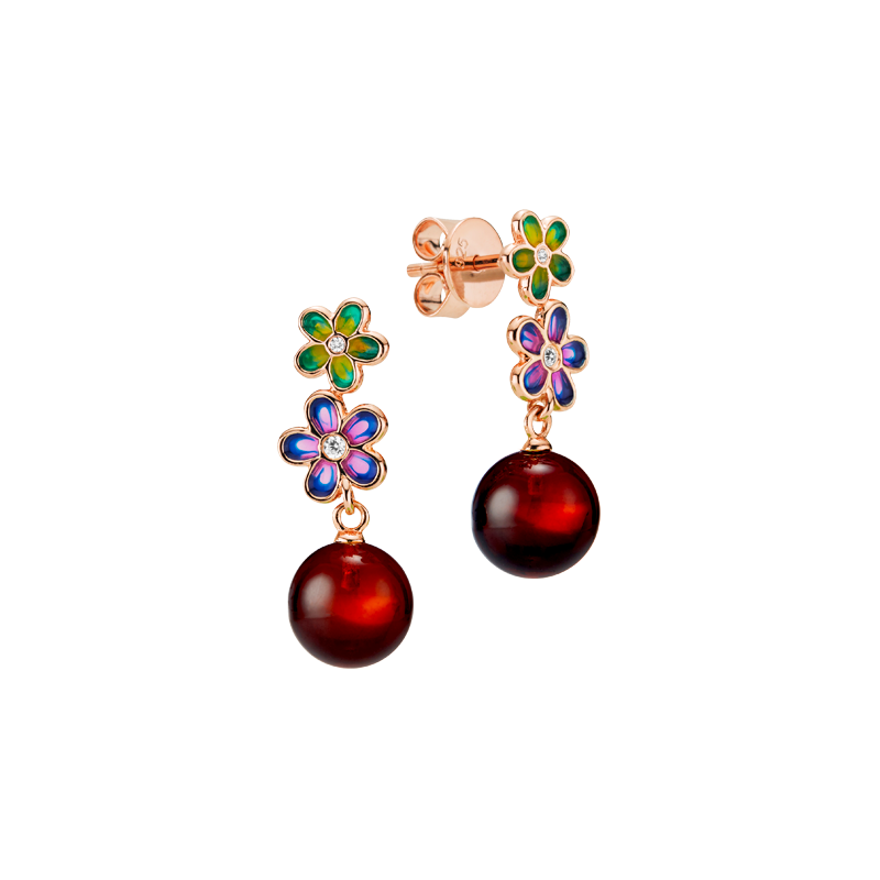 Blossom earrings in cherry amber and enamel