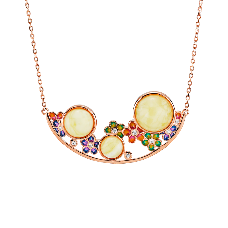 Blossom necklace in milky amber and enamel