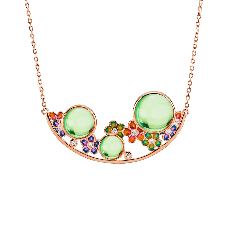 Blossom necklace in aurora green amber and enamel