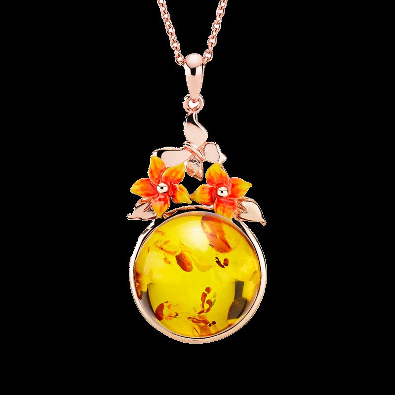 Bygone Garden pendant in cognac amber and orange enamel