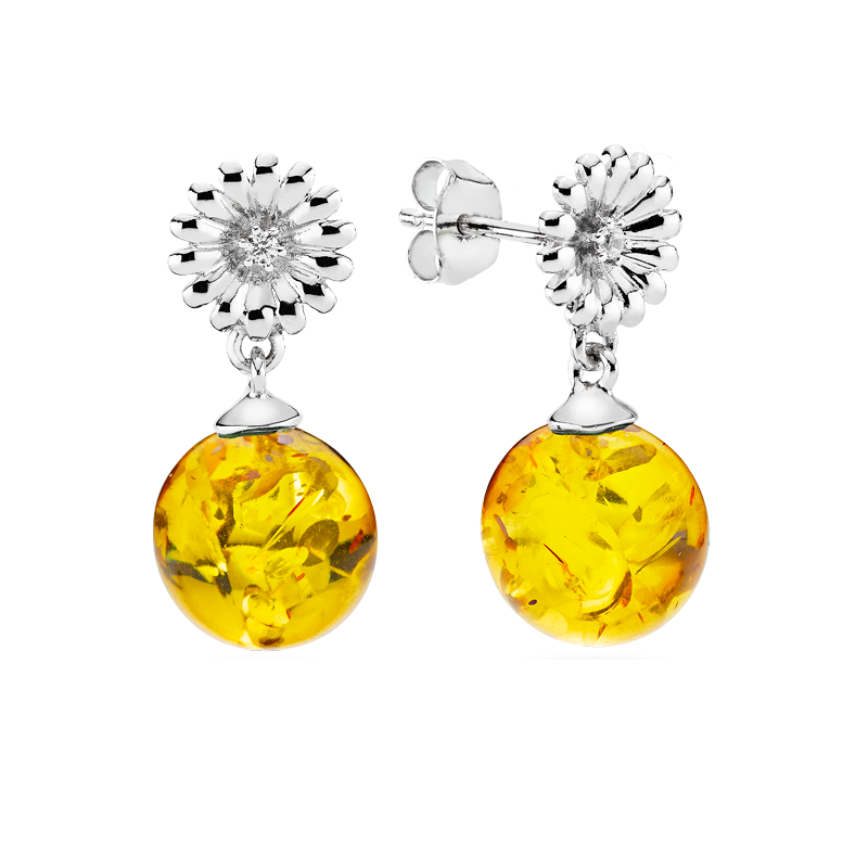 Crown Daisy earrings in cognac amber