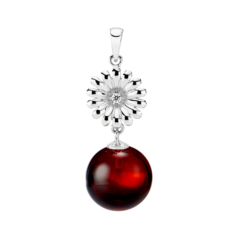 Crown Daisy pendant in cherry amber