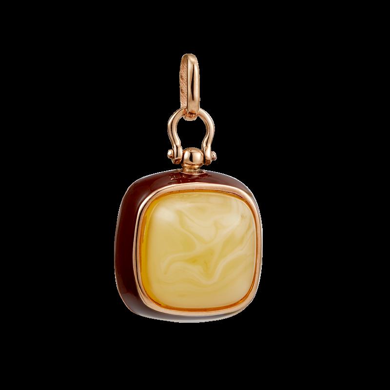 Enlightened Enamel pendant in milky amber and brown enamel