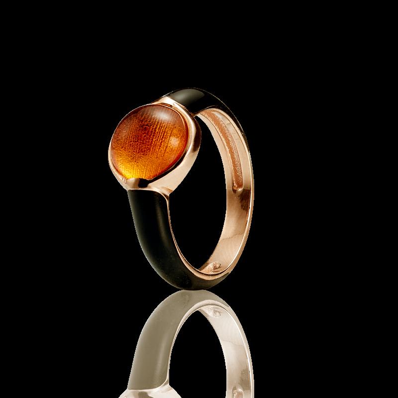 Enlightened Enamel ring in cognac amber and black enamel