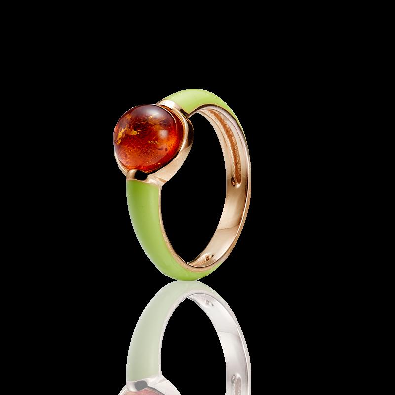 Enlightened Enamel ring in cognac amber and lime enamel