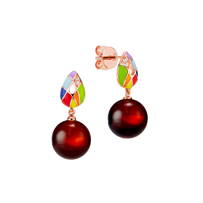 Harlequin earrings in cherry amber and enamel
