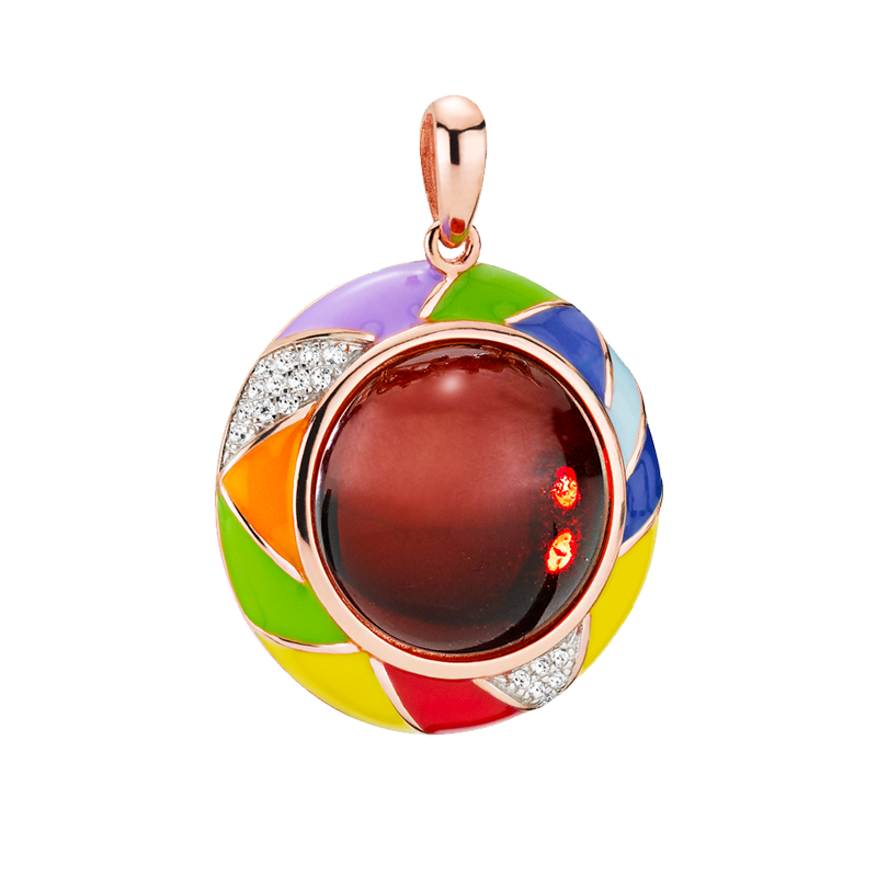 Harlequin pendant in cherry amber and enamel