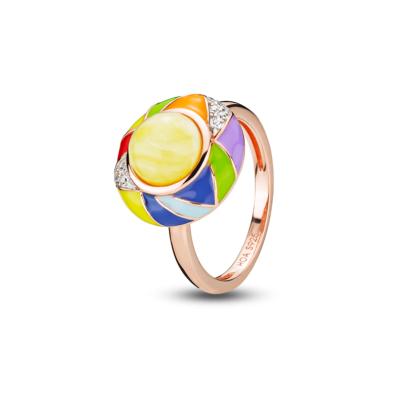 Harlequin ring in milky amber and enamel