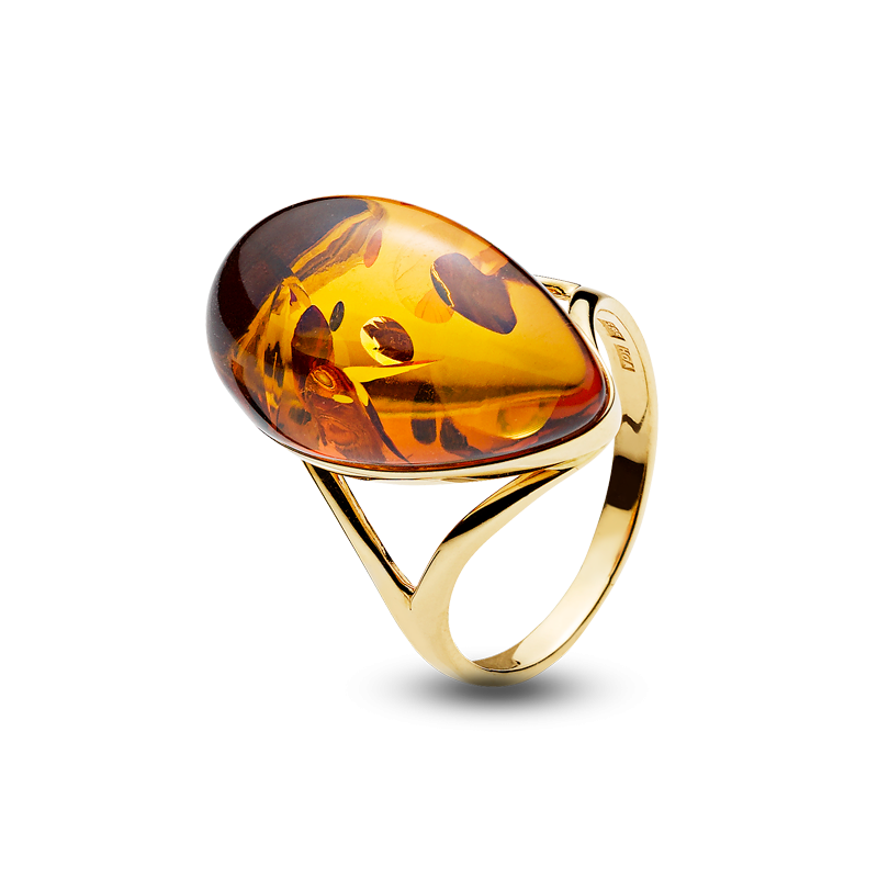 Harmony ring in cognac amber and gold