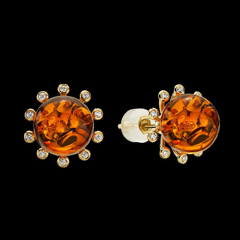 Look of London earrings in cognac amber with diamonds