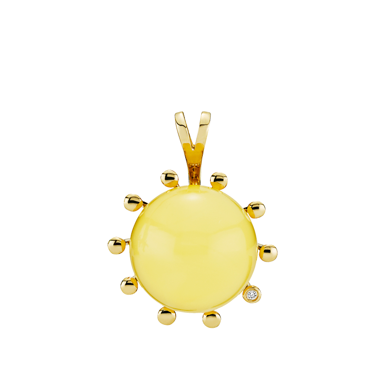 Look of London pendant in milky amber with diamonds