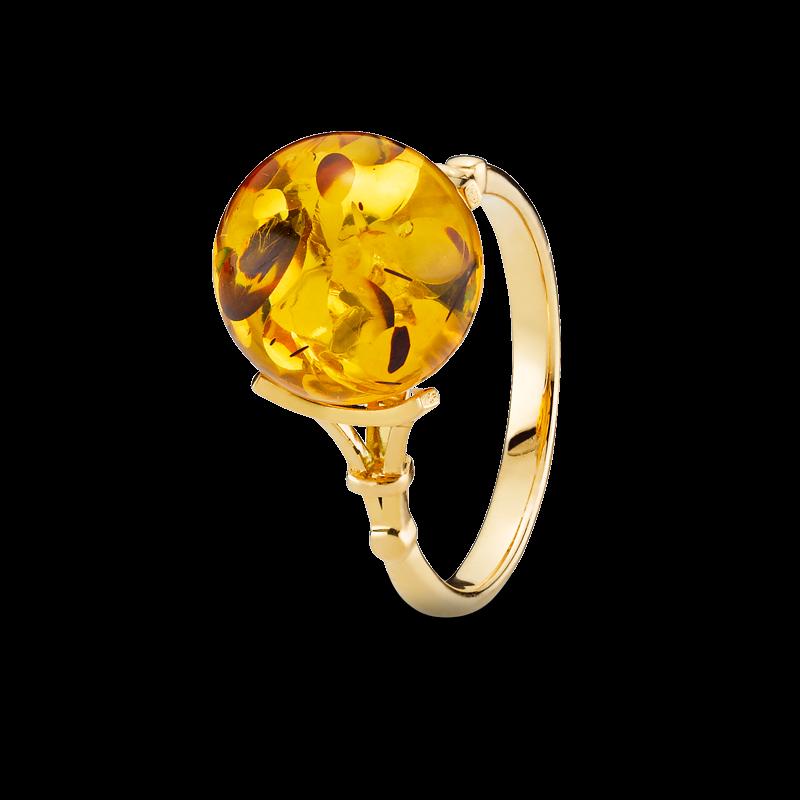 Love in Paris ring in cognac amber