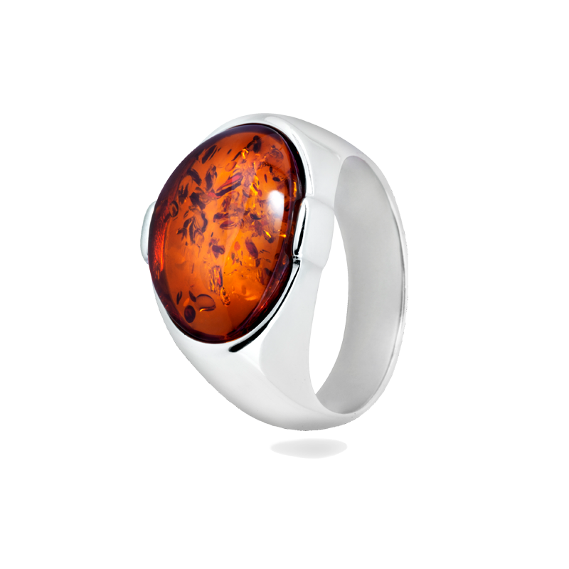 Men's ring in cognac amber and silver