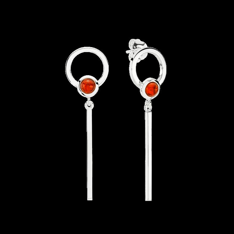 Precious Moon earrings in cognac amber