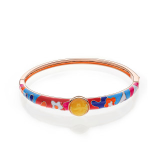 Lucky 8 anniversary bangle in milky amber and enamel