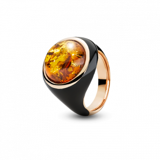 Ring in cognac amber and black enamel
