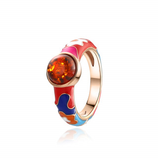 Lucky 8 anniversary ring in cognac amber and enamel