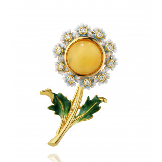 Enlightened Enamel daisy flower brooch in milky amber and royal blue royal green enamel