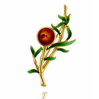 Enlightened Enamel bamboo brooch in cognac amber with green enamel