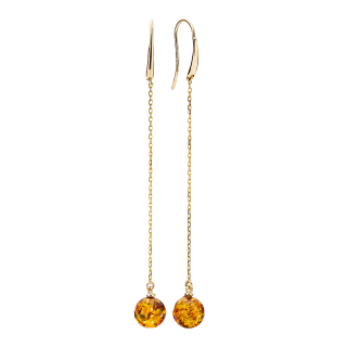 Ballroom earrings in cognac amber and gold