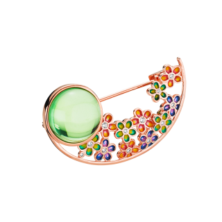 Blossom brooch in aurora green amber and enamel