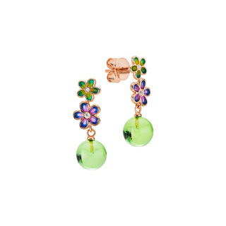 Blossom earrings in aurora green amber and enamel