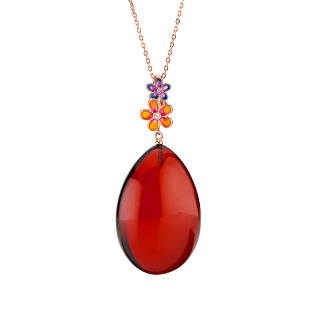 Blossom pendant in cherry amber and enamel