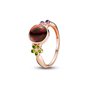 Blossom ring in cherry amber and enamel