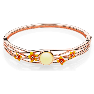 Bygone Garden bangle in milky amber and orange enamel