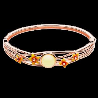 Bygone Garden bangle in milky amber and orange enamel