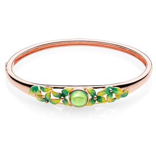 Bygone Garden bangle in Aurora Green Amber and green enamel