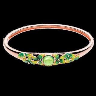 Bygone Garden bangle in Aurora Green Amber and green enamel