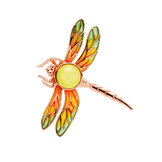 Bygone Garden Brooch in milky amber and green and orange enamel