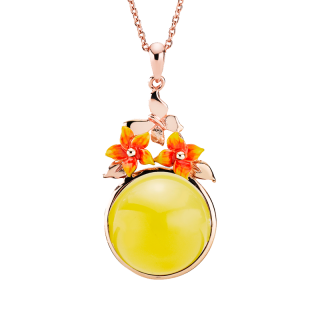Bygone Garden pendant in milky amber and orange enamel