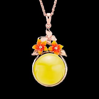 Bygone Garden pendant in milky amber and orange enamel
