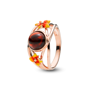 Bygone Garden ring in cherry amber and orange enamel