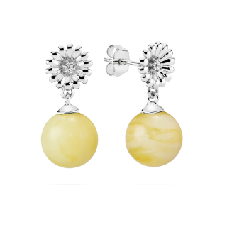 Crown Daisy earrings in milky amber